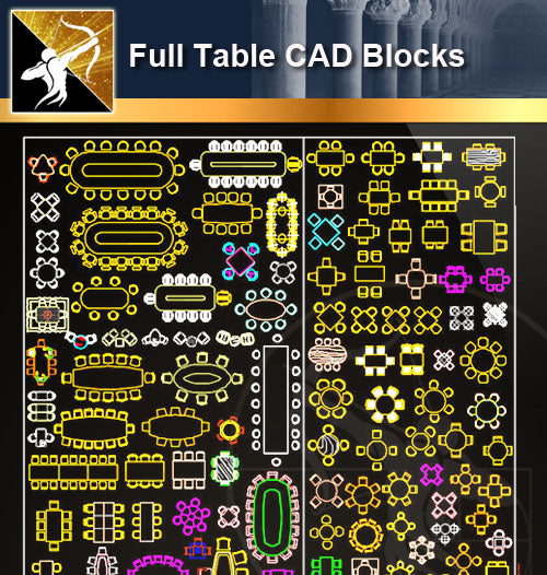 ★Full Table Blocks - Architecture Autocad Blocks,CAD Details,CAD Drawings,3D Models,PSD,Vector,Sketchup Download