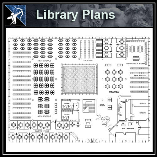 【Architecture CAD Projects】Library CAD Blocks and Plans,Elevation