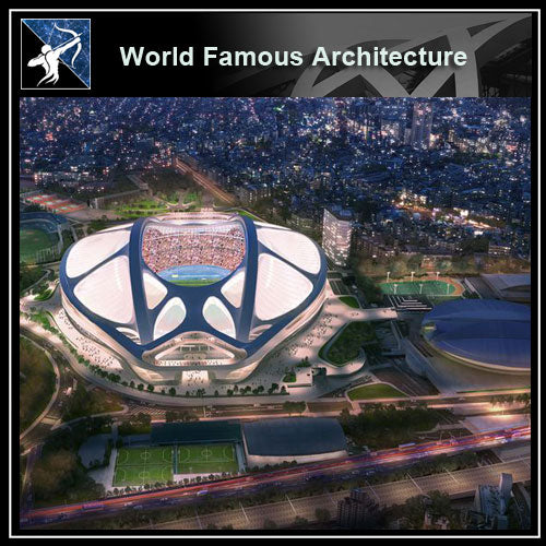 【World Famous Architecture CAD Drawings】Tokyo olympic stadium - zaha hadid 3d