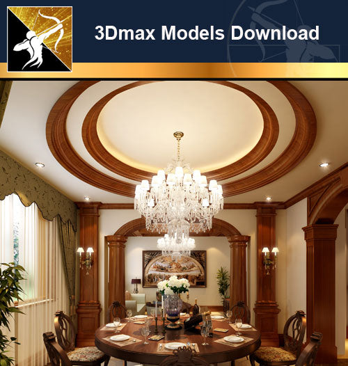 ★Download 3D Max Decoration Models -Dining Room V.16 - Architecture Autocad Blocks,CAD Details,CAD Drawings,3D Models,PSD,Vector,Sketchup Download