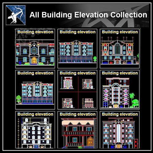 ★【All Building Elevation CAD Drawings Collection】 - Architecture Autocad Blocks,CAD Details,CAD Drawings,3D Models,PSD,Vector,Sketchup Download