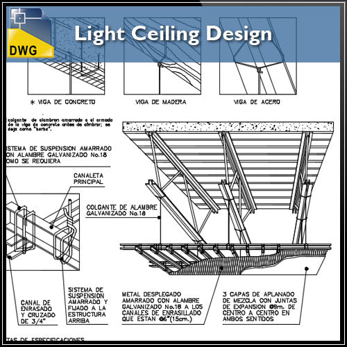 【CAD Details】Light Ceiling Design CAD Details
