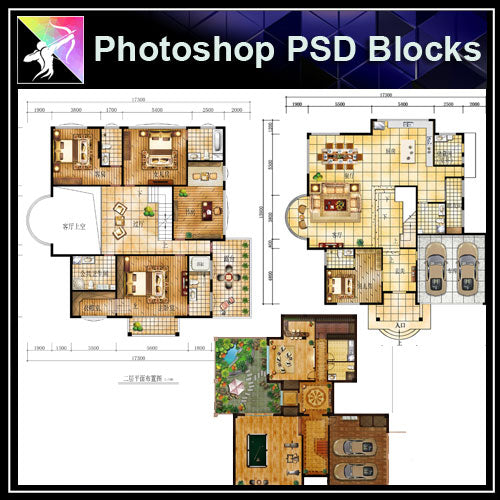 Photoshop PSD Interior Design -3 Types Interior Design Layout PSD - Architecture Autocad Blocks,CAD Details,CAD Drawings,3D Models,PSD,Vector,Sketchup Download