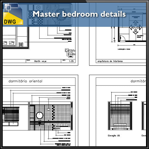 【Interior Design CAD Drawings】@Master Bedroom CAD Details