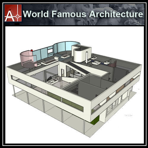 【Famous Architecture Project】Villa Savoye-CAD Drawings,Sketchup 3D model - Architecture Autocad Blocks,CAD Details,CAD Drawings,3D Models,PSD,Vector,Sketchup Download