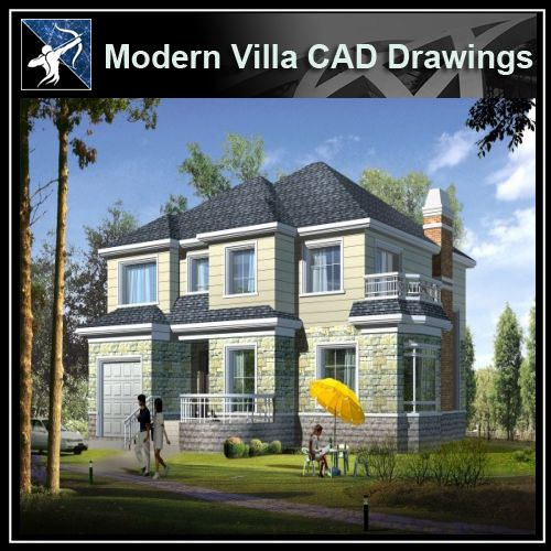 ★Modern Villa CAD Plan,Elevation Drawings Download V.7