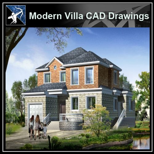 ★Modern Villa CAD Plan,Elevation Drawings Download V.6