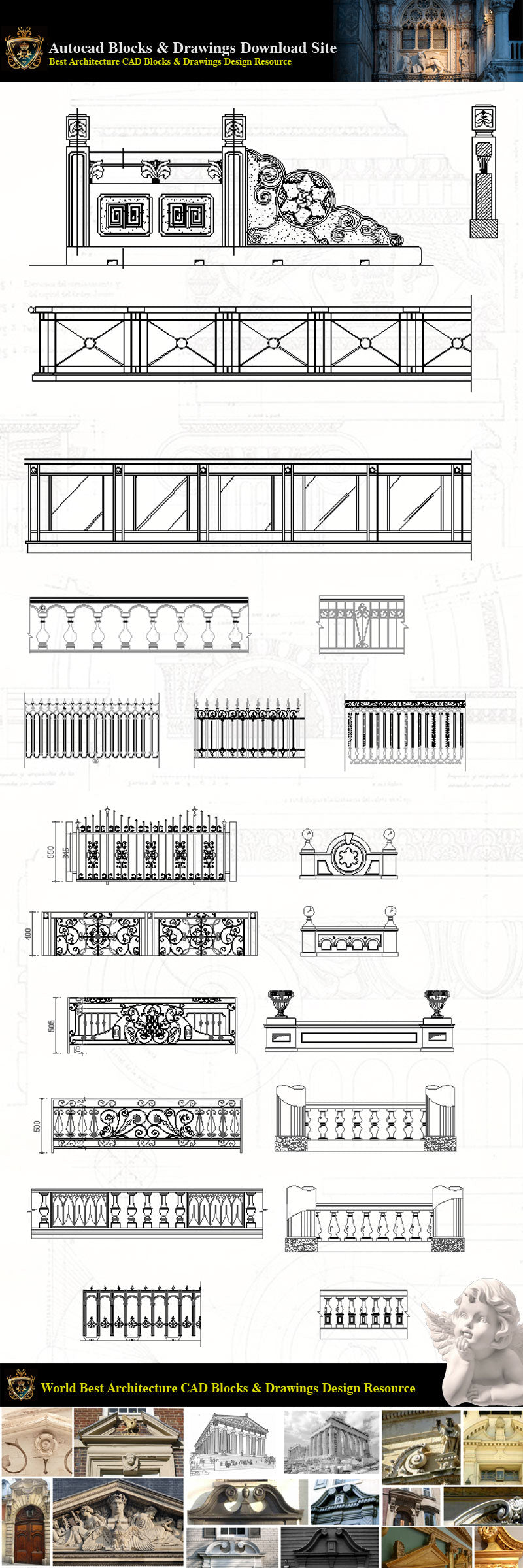 Architectural Decoration Elements CAD Blocks Bundle V 3