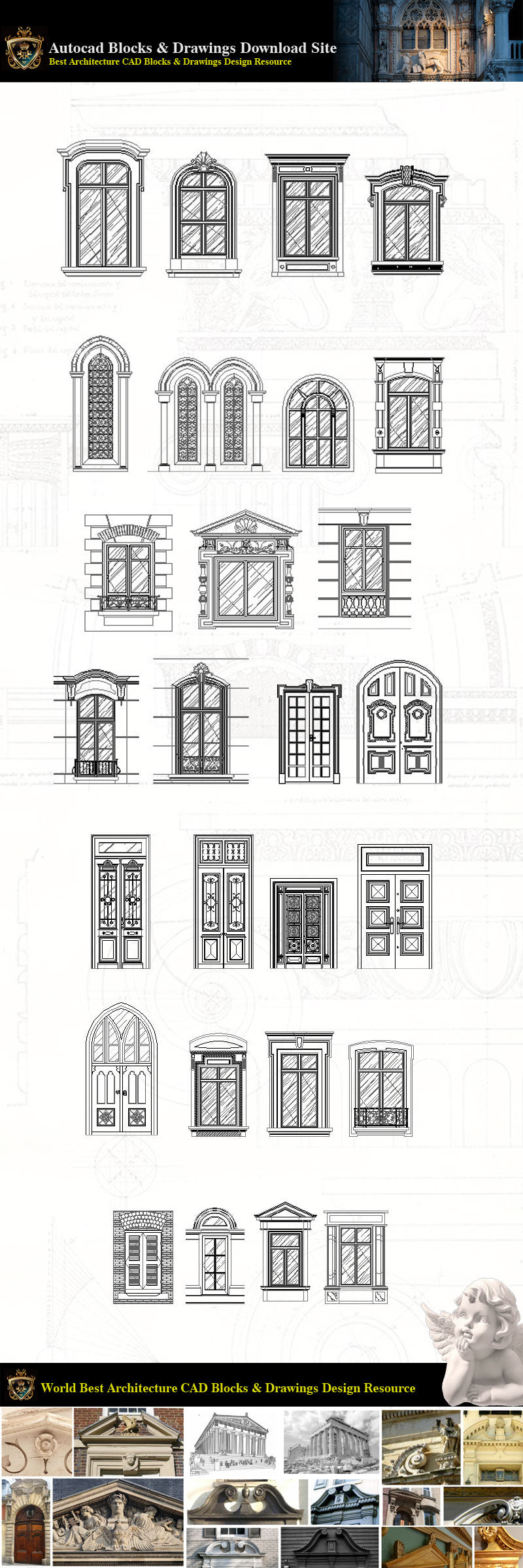 Architectural Decoration Elements Cad Blocks Bundle V 6