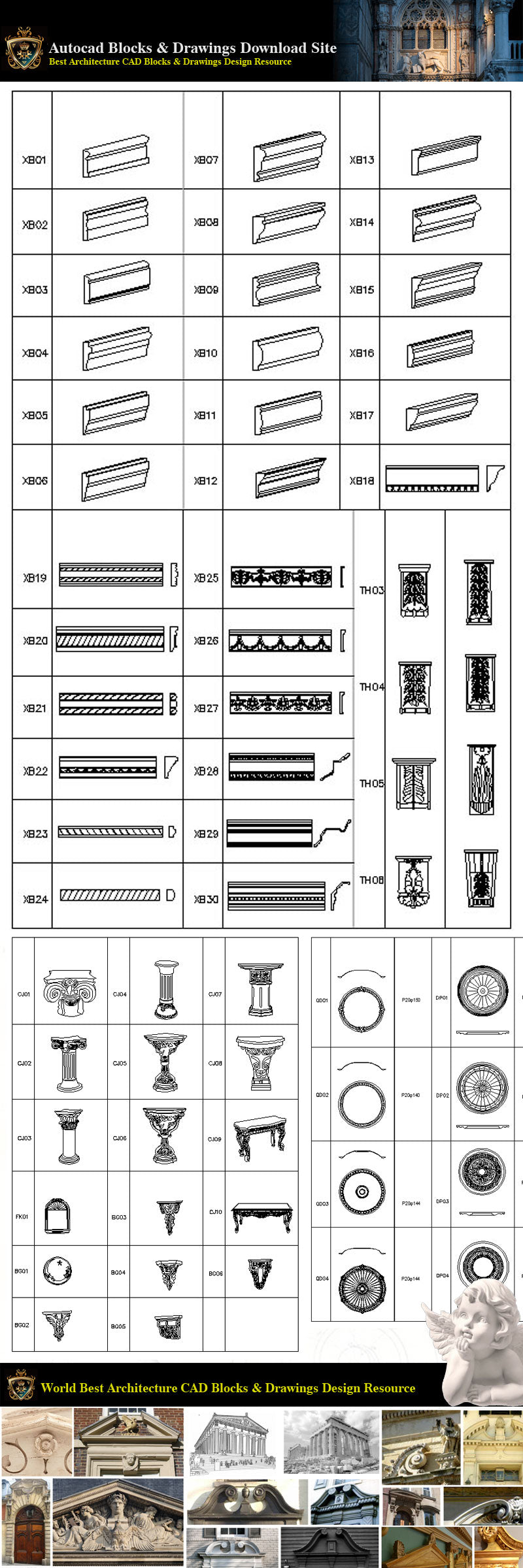 Architectural Decoration Elements CAD Blocks Bundle V 5
