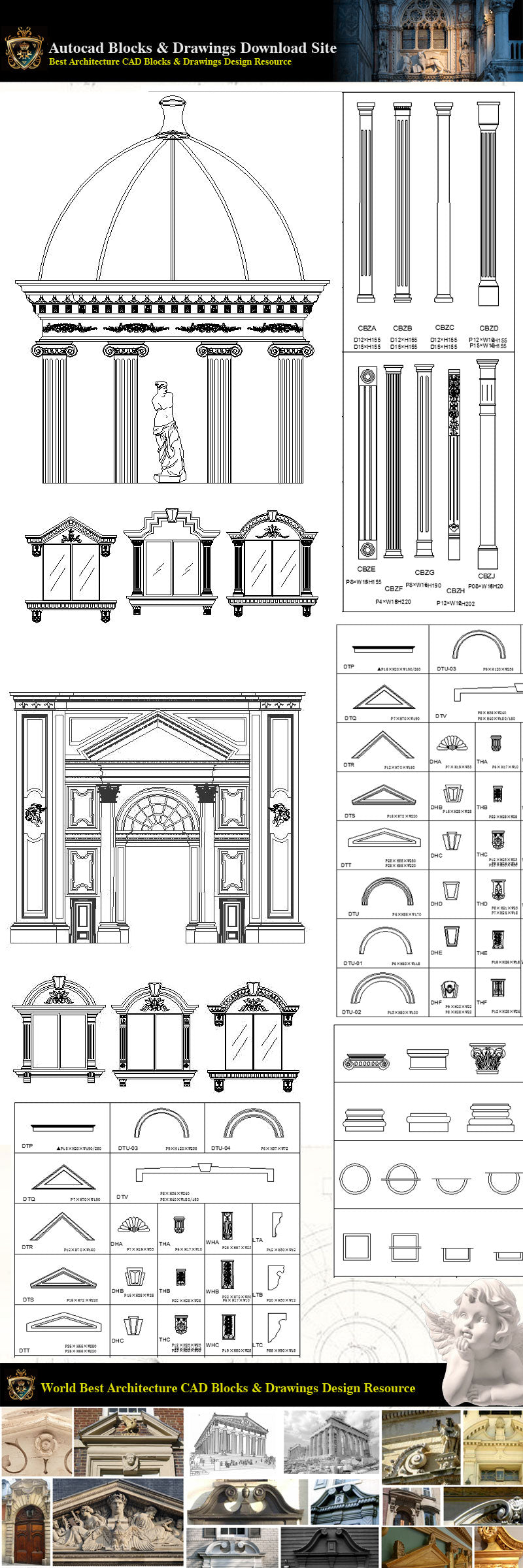 Architectural Decoration Elements CAD Blocks Bundle V 1