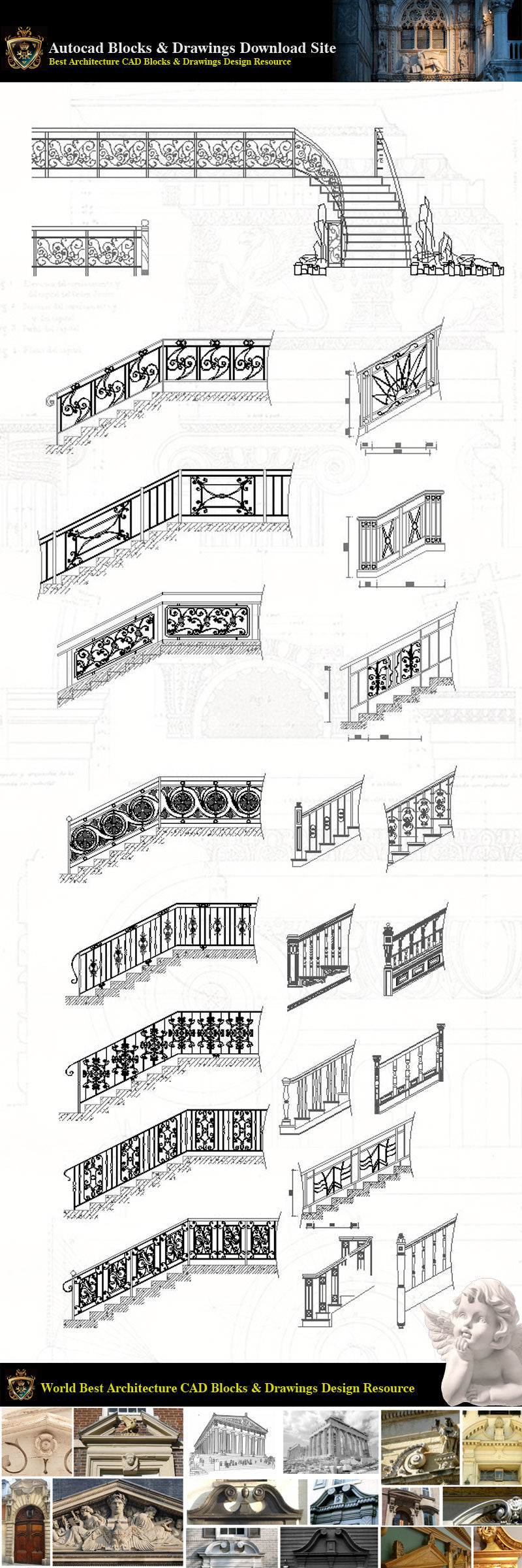 Architectural Decoration Elements CAD Blocks Bundle V 7-Stairs