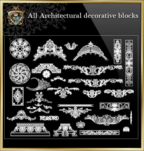 ★Architecture Decorative CAD Blocks Bundle V.3-☆Architectural Decorative Elements☆ - Architecture Autocad Blocks,CAD Details,CAD Drawings,3D Models,PSD,Vector,Sketchup Download
