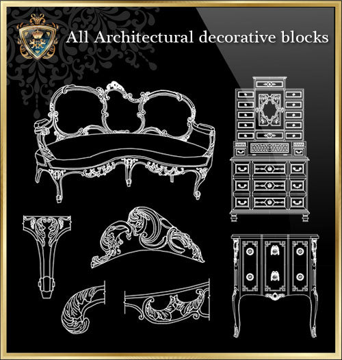 ★Architecture Decorative CAD Blocks Bundle V.11-☆Architectural Decorative Elements☆ - Architecture Autocad Blocks,CAD Details,CAD Drawings,3D Models,PSD,Vector,Sketchup Download