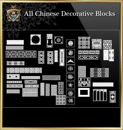 ★Architecture Decorative CAD Blocks Bundle V.14-☆Chinese Carved Elements☆ - Architecture Autocad Blocks,CAD Details,CAD Drawings,3D Models,PSD,Vector,Sketchup Download