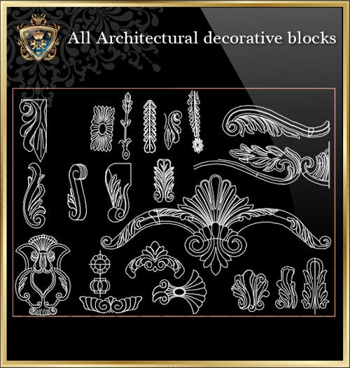 ★Architecture Decorative CAD Blocks Bundle V.9-☆Architectural Decorative Elements☆ - Architecture Autocad Blocks,CAD Details,CAD Drawings,3D Models,PSD,Vector,Sketchup Download