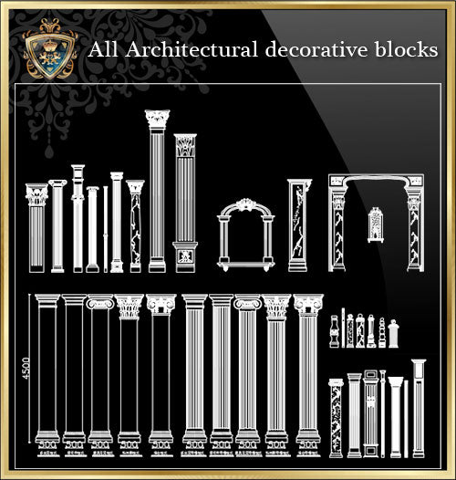 ★Architecture Decorative CAD Blocks Bundle V.16-☆Architecture Decorative CAD Blocks☆ - Architecture Autocad Blocks,CAD Details,CAD Drawings,3D Models,PSD,Vector,Sketchup Download