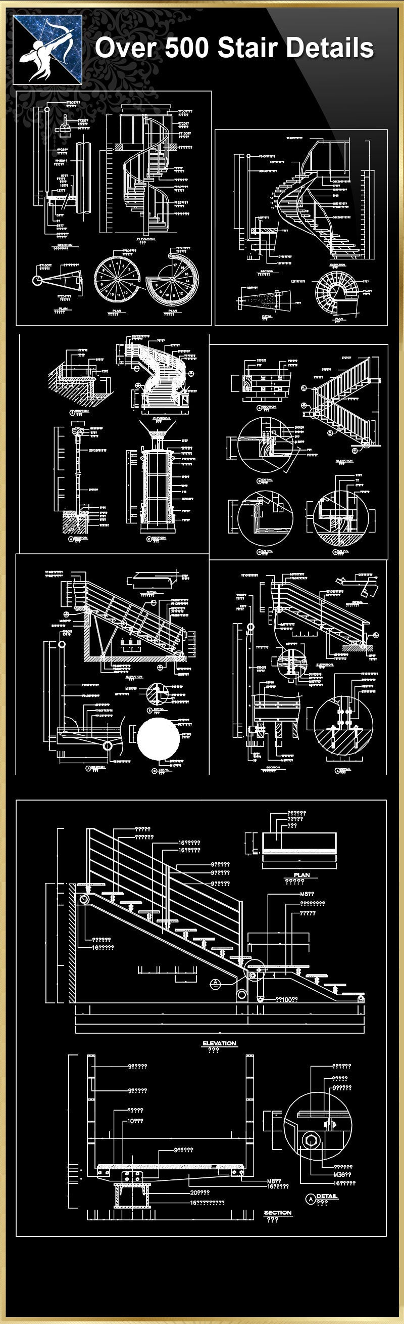 ★【Over 500 Stair Details CAD Drawings】