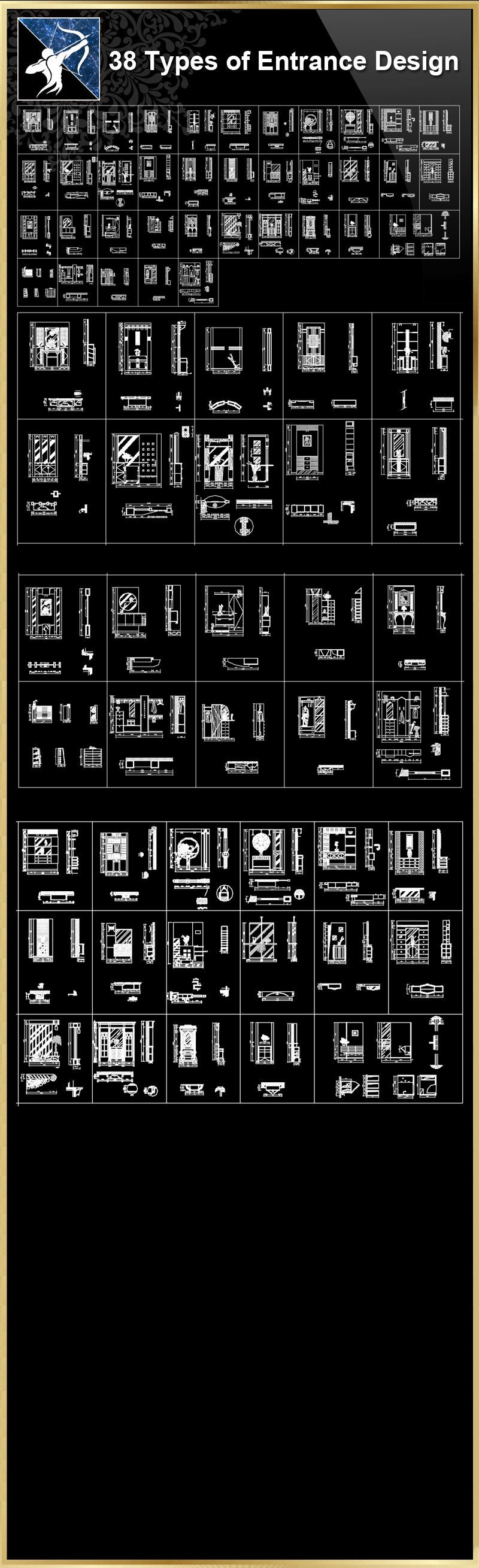 ★【38 Types of Entrance Design CAD Drawings】
