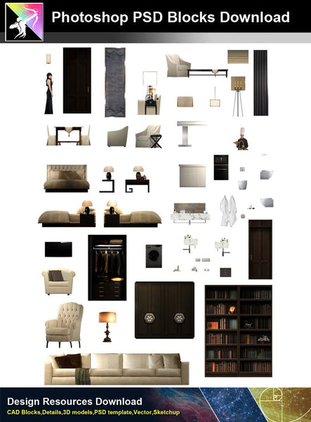 【Photoshop PSD Blocks】Interior Design PSD Blocks 3