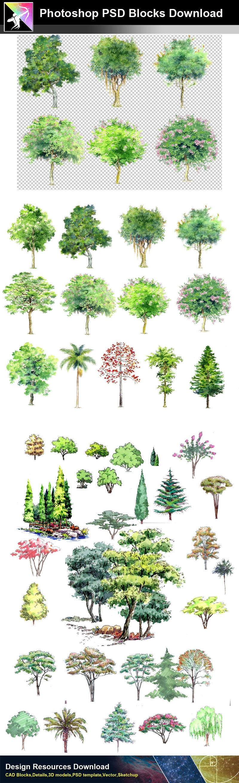 【Photoshop PSD Landscape Blocks】Hand-painted Tree Blocks