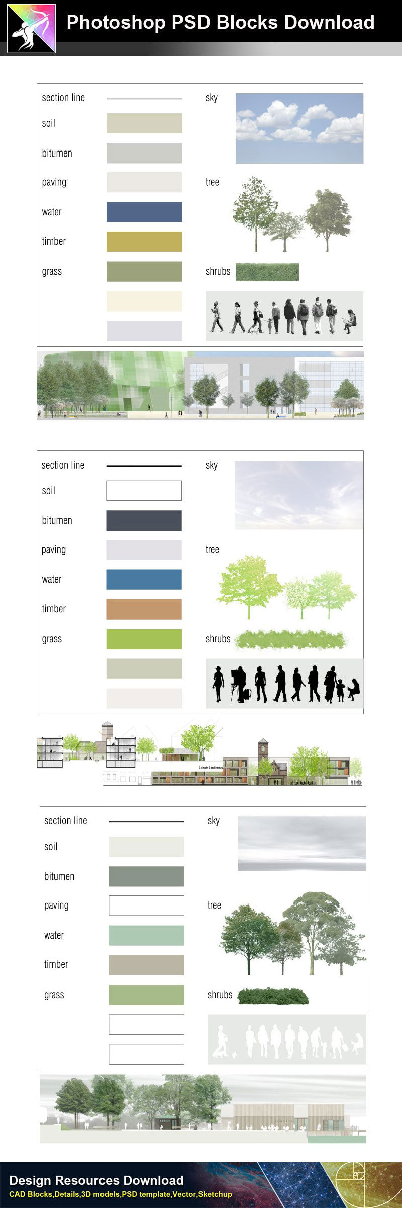 【Photoshop PSD Landscape Blocks】Landscape Plan,Elevation Blocks V.1(Recommanded!!)