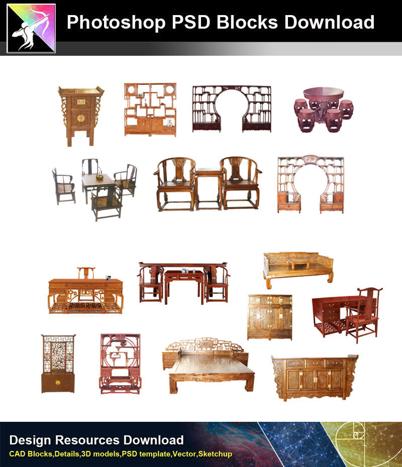 Photoshop Psd Blocks Chinese Furniture 1