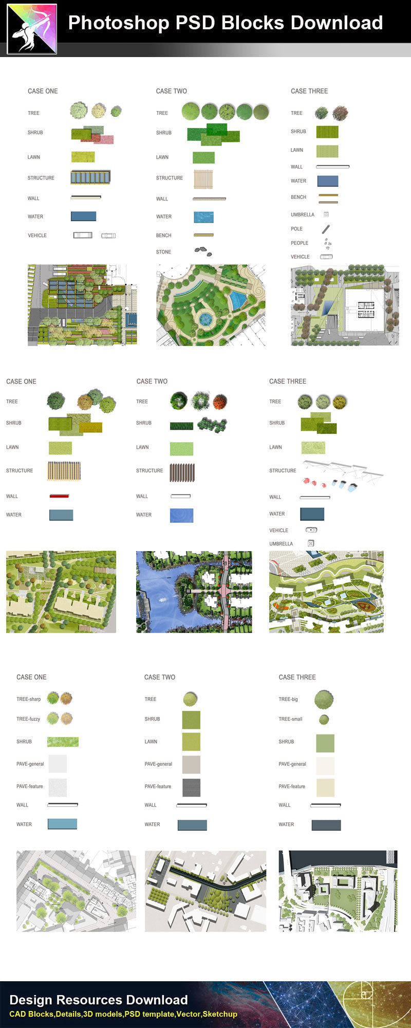 【Photoshop PSD Landscape Blocks】Landscape Plan,Elevation Blocks