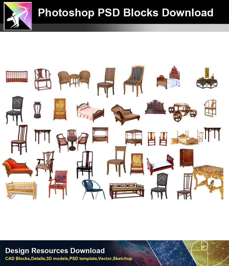 【Photoshop PSD Blocks】Chinese Furniture 2