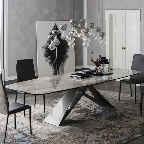 Marble dining table Postmodern minimalist creative dining table 6/8 person rectangular stainless steel dining table