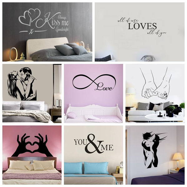 New Design Lovers Quotes Wall Sticker For Bedroom Decor Decals Room Decoration Stickers Sweet Home Girls Room Mural Wallpaper
