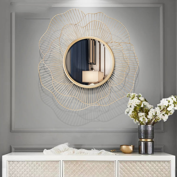 Modern Wrought Iron Wall Decorative Mirror Decoration Craft Wall Hanging Ornament Home Livingroom 3D Stereo Wall Sticker Murals