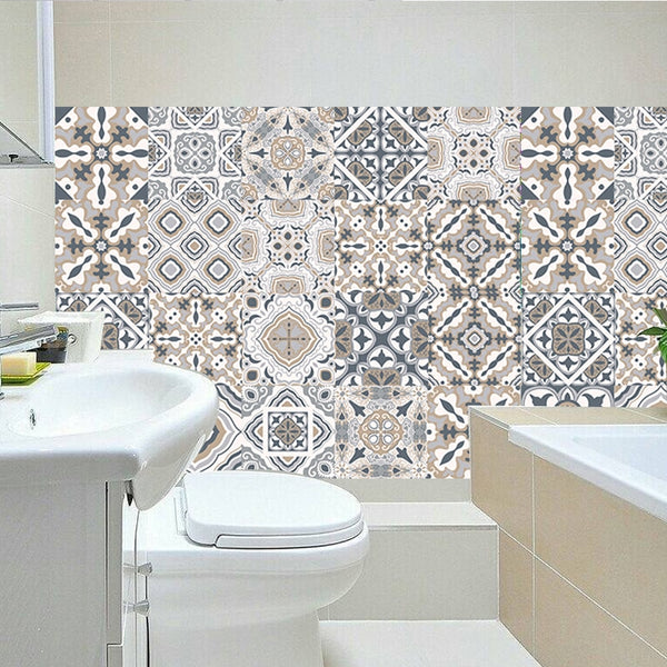 Arabic Retro Tile Stickers For Kitchen Bathroom vinyl tile Self Adhesive Wall Stickers DIY Decor Wallpaper Waterproof Wall Decal