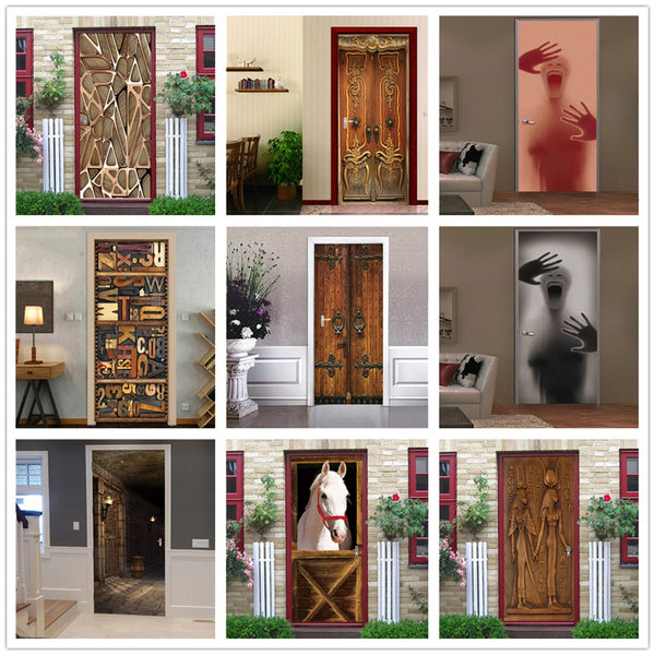 2PCS/SET Door Sticker PVC Self-adhesive Waterproof 3D Removable Home Decor Wine Shelf Decals DIY Wall Art Mural stickers porte
