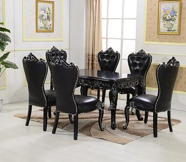 European-style dining table and chair combination 6 people black solid wood carving rectangular table simple small family .