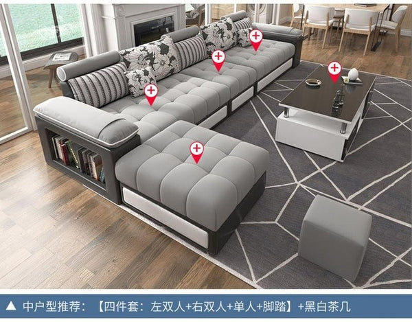 Hot Selling Modern Nordic Large And Small Family Living Room Simple Fabric Sofa Tea Table Tv Cabinet Combination Furniture Apart