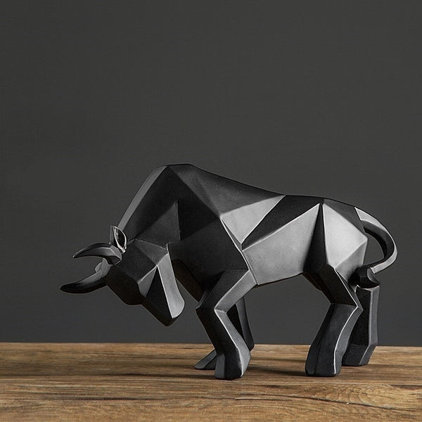 [MGT]Resin Geometric Bison Ox Sculpture Abstract Bull Statue Office Decoration Home Art Craft Ornament Accessories Birthday Gift
