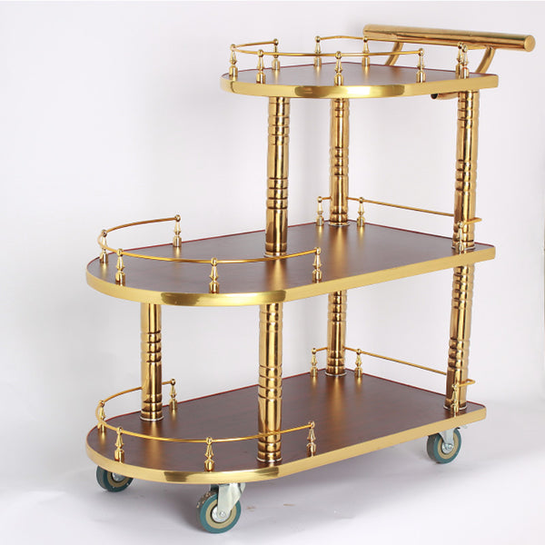 Hotel Titanium Wine Water Cart European Three-tier Dining Car Trolley Luxury Dessert Cart Tea Car Cake Car