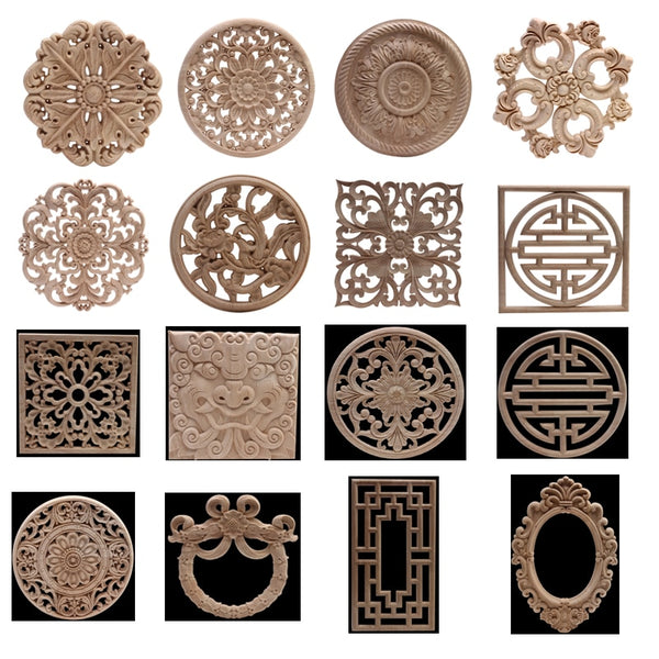 Carved Unpainted Ornamental Natural Wood Applique Wood Mouldings Onlay Wood Decal Long Rose Wooden Cabinet Furniture Corner NEW