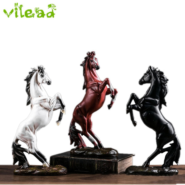 VILEAD Modern Europe Style Horse Statue for Office Home Decoration Resin Horse Figurines Decorative Home Accessories Ornament