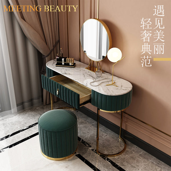 Dressing table Nordic bedroom simple storage cabinet one European light luxury with light makeup table bedroom dressers