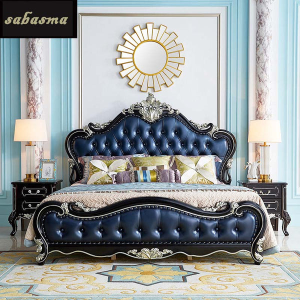 European double bed 1.8m wedding bed luxury ebony carved leather bed American master bedroom light luxury big bed