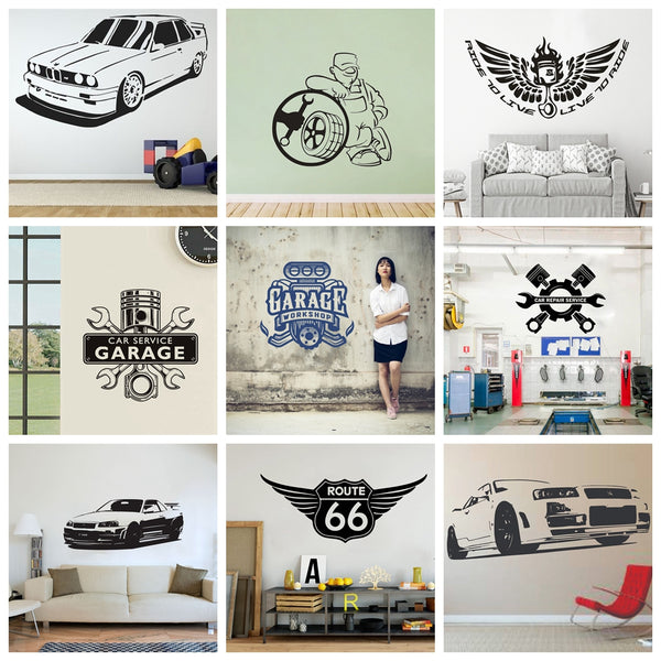 Exquisite Garage Repair Car Wall Sticker Modern Fashion Vinyl Stickers Auto Repair Service Tool Machine Wall Decal Shop Decor