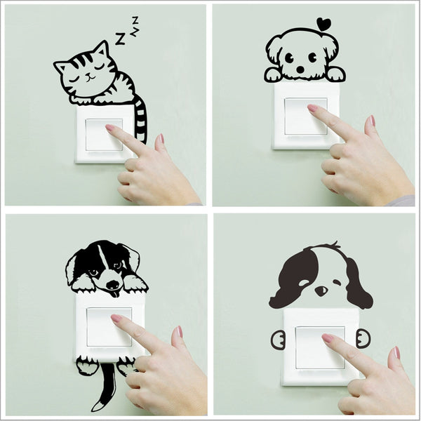XXYYZZ DIY funny Cute Sleeping Cat Dog Switch Stickers Wall Stickers Decal Home Decoration Bedroom Living Room Parlor Decoration
