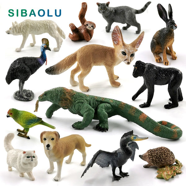 Komodo Dragon Lizard Wolf Dog Cat Sloth Bird Fox animal model figurine home decor miniature fairy garden decoration accessories