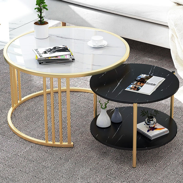 Creative Round Table Nordic Small Coffee Table Modern Home Living Room Sofa Round Table Bedside Multifunctional Removable Table