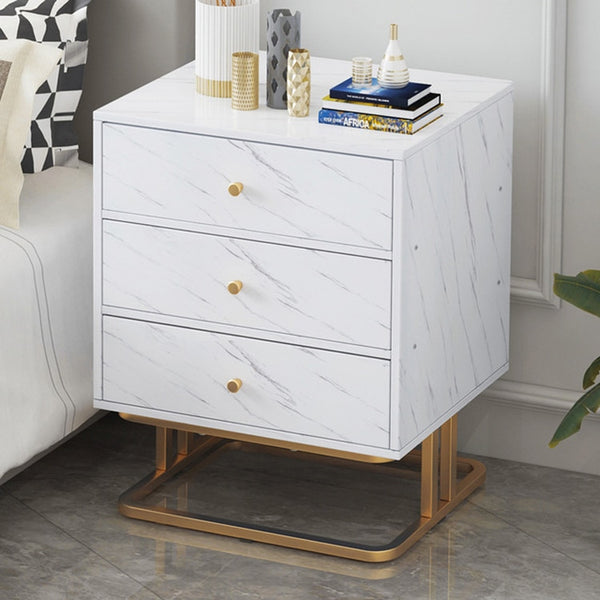 Bedroom Furniture Bedside Table with 1 Drawer 3 Drawer Nightstand Sofa Side Cabinet Marble Texture MDF Storage Table