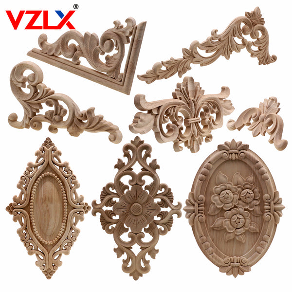 VZLX Unique Natural Floral Wood Carved Wooden Figurines Crafts Corner Appliques Frame Wall Door Furniture Woodcarving Decorative