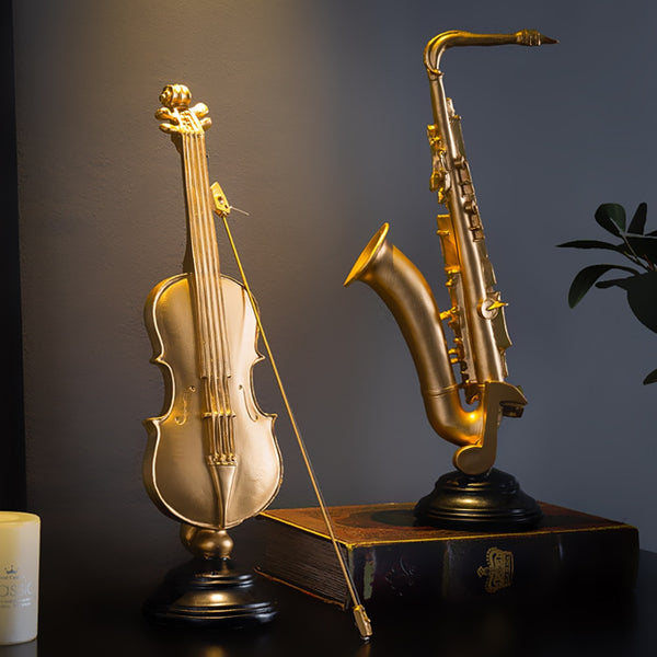 Modern Home Decoration Violin Figurines Sax Statuettes Accessories Desk Office Decor Resin Musical Instrument Model Decorative