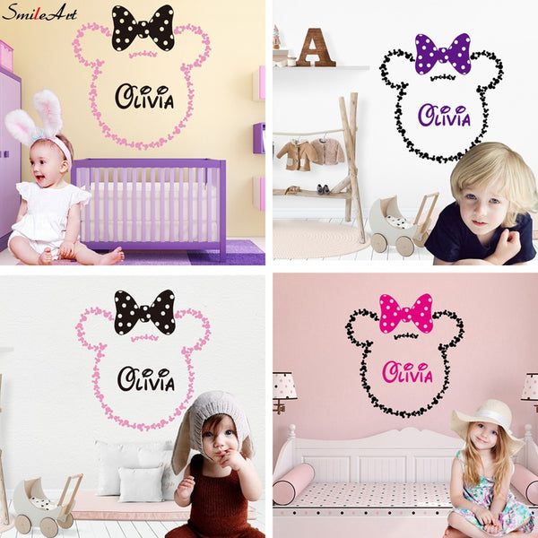 2020NEW Personalised MICKEY Mouse Custom Name MINNIE STICKERS Girls Bedroom Vinyl Wall Sticker For Kids Room Decor Decal